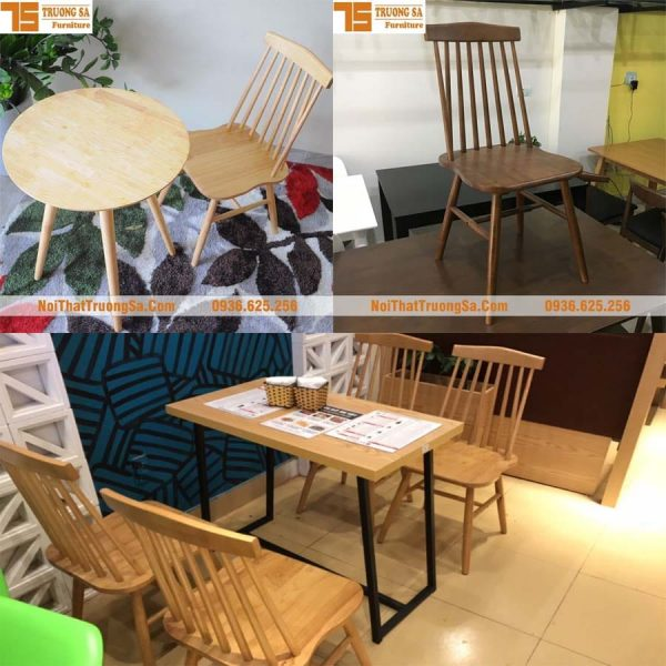 bộ bàn ghế gỗ cafe mini TS154