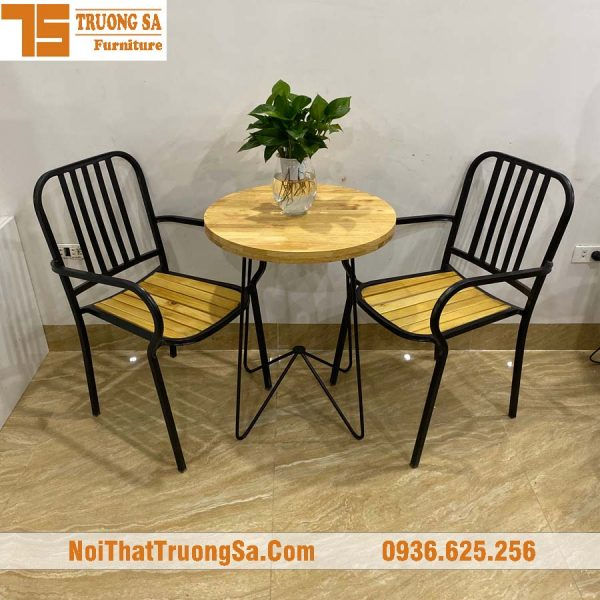 bàn ghế cafe khung sắt TS275