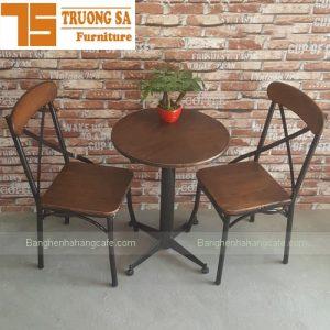 Bàn ghế khung sắt mặt gỗ TS140