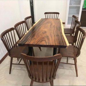 bàn ghế ăn gỗ nguyên tấm TS123