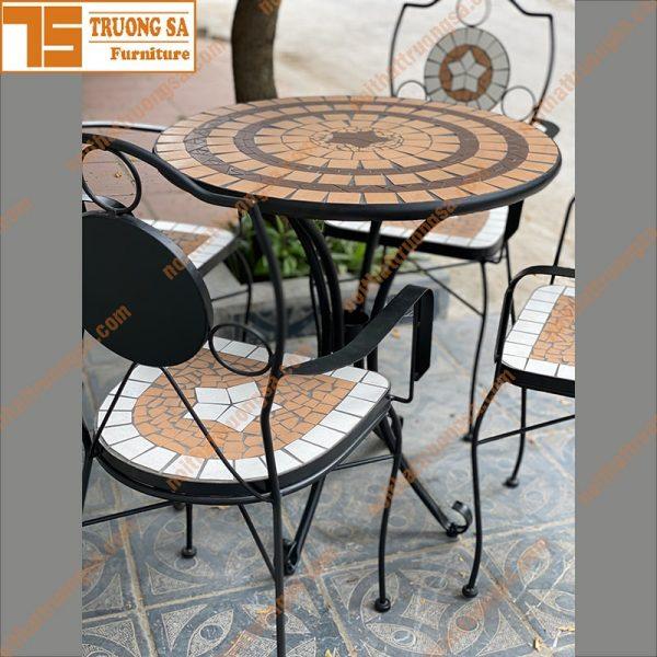 bàn ghế ngoài trời mosaic TS113