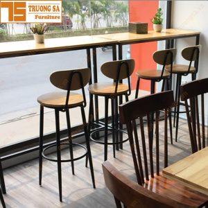 bàn ghế bar chân sắt mặt gỗ TS120