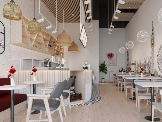 thiết kế quán trà sữa đẹp