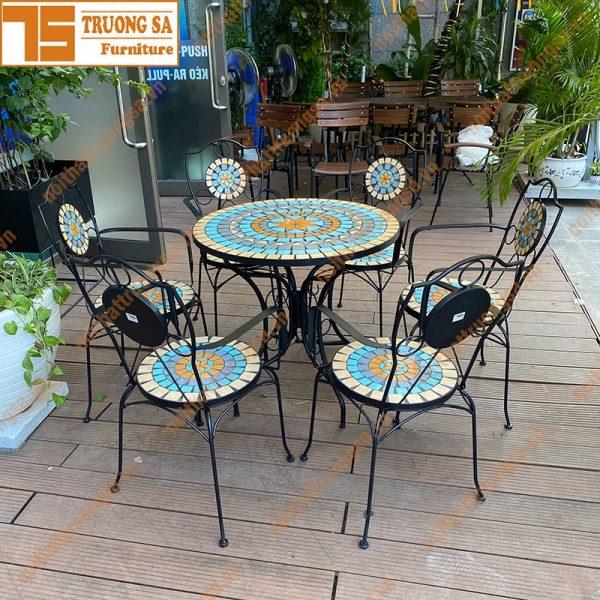 Bộ bàn ghế mosaic ngoài trời TS112
