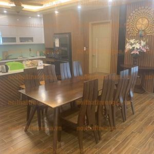 bàn ăn gỗ sồi 8 ghế TS372